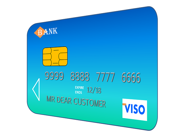modrá kreditní karta